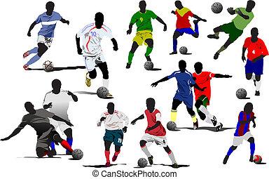 futbol, vector, players., ilustración