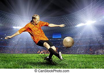 futbolowy gracz, na, pole, od, stadion