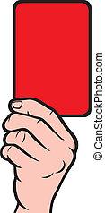 futebol, árbitros, cartão, vermelho, mão