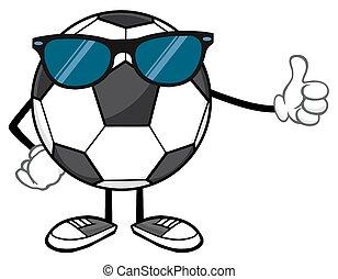 futebol, óculos de sol, bola