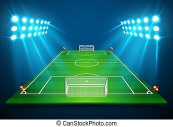 futebol, 10., sala, futebol, eps, ilustração, vetorial, field., perspectiva, campo, cópia