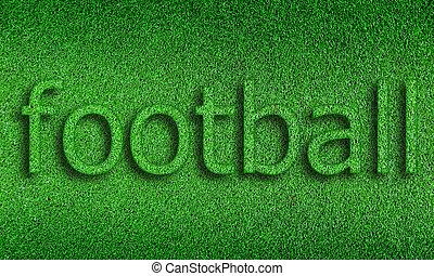 futebol, alfabeto, ligado, grama verde