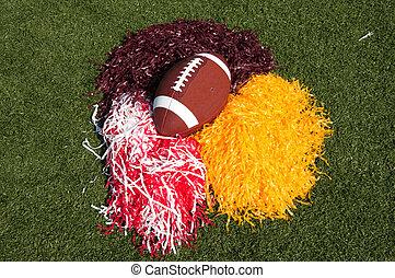 futebol americano, e, poms pom, ligado, campo