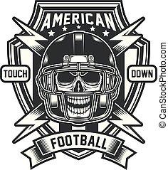 futebol americano, emblema, cranio