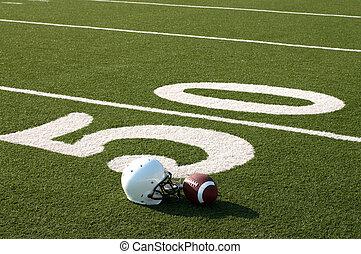 futebol americano, equipamento, ligado, campo