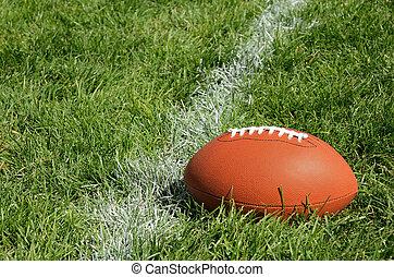 futebol americano, ligado, natural, campo grama