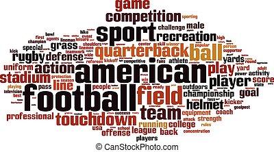 futebol americano, palavra, nuvem