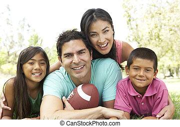 futebol americano, parque, família
