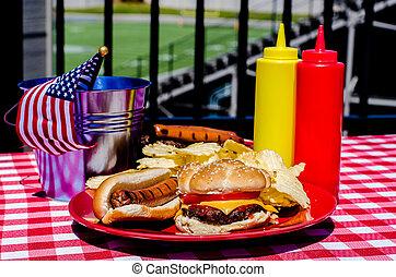 futebol americano, tailgating, refeição