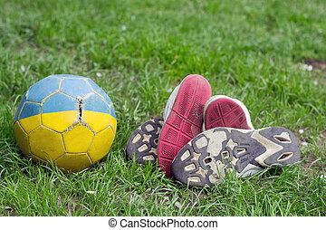 futebol, antigas, sapatos