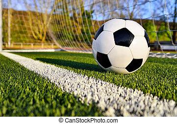 futebol, atrás de, bola, linha, meta