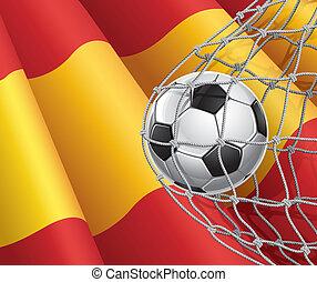 futebol, bandeira, bola, espanhol