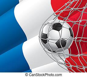 futebol, bandeira, bola, francês