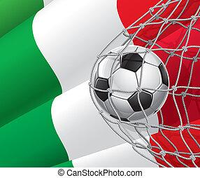 futebol, bandeira, bola, italiano
