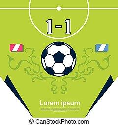 futebol, bandeira, contagem, partida, tábua