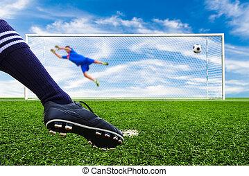 futebol, bola, meta, penalidade, pé, Tiroteio