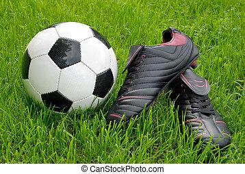 futebol, capim, sapatos, bola