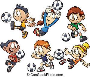futebol, caricatura, crianças
