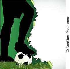 futebol, cartaz, com, jogador futebol, silueta