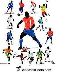 futebol, cartaz, futebol, player., col