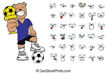 futebol, cartoon10, urso, pelúcia
