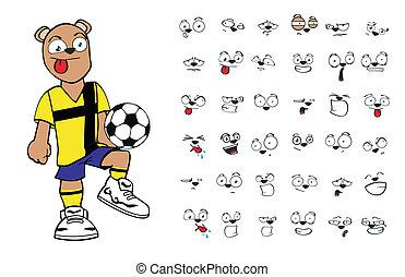 futebol, cartoon3, urso, pelúcia