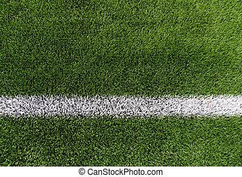 futebol, cima, campo, fim, linha, capim