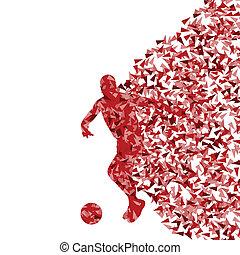 futebol, conceito, jogador, vetorial, fundo, fragmentos,...