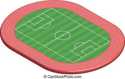 futebol, dimensional, 3, passo, campo