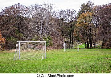 futebol, dois, campo, verde, metas, ao ar livre, pequeno, capim