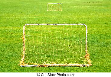 futebol, dois, capim, campo, verde, metas, simétrico, ao ar livre, pequeno, perspectiva