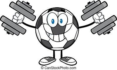 futebol, dumbbells, bola