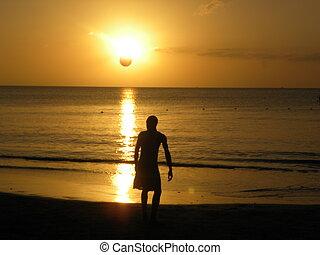futebol, em, a, pôr do sol