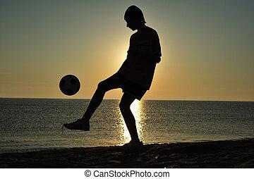 futebol, em, pôr do sol