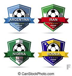 futebol, emblema, (, jogo, futebol, )