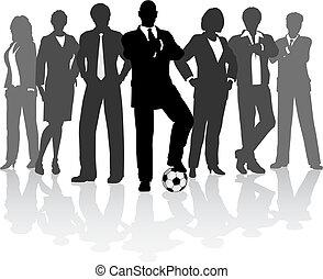 futebol, equipe negócio