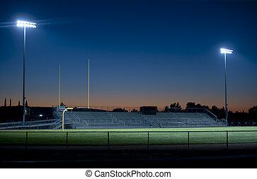 futebol, estádio, à noite
