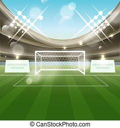 futebol, estádio, vetorial, fundo, com, meta futebol, rede,...