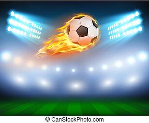 futebol, flame., inflamável, ilustração