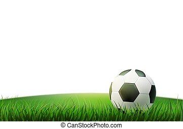 futebol, footbal, bola, realístico, vetorial, estádio, capim