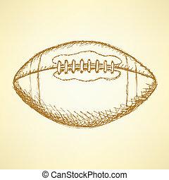 futebol, fundo, americano, balll, vetorial, esboço