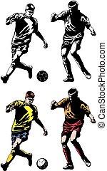 futebol, futebol, -, dois, jogadores