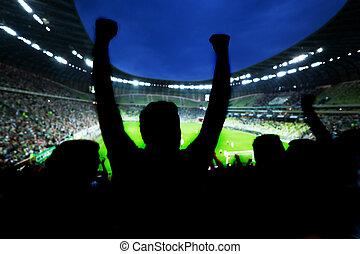 futebol, futebol, ventiladores, apoio, seu, equipe, e, comemorar