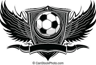 futebol, gráfico, vetorial, bola, ornate