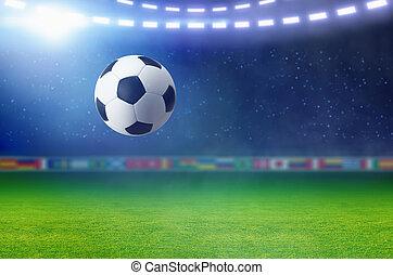 futebol, ilumina, campo, luminoso, verde, bola futebol, holofote