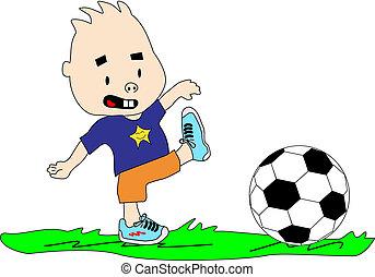futebol, jogando esfera, criança