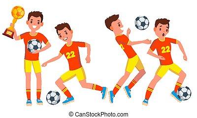 futebol, macho, jogador, vector., em, action., modernos, uniform., ball., boots., caricatura, personagem, ilustração