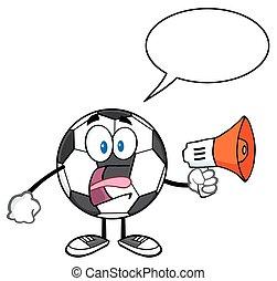 futebol, megafone, bola