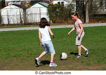 futebol, meninas, tocando