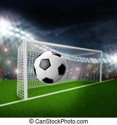 futebol, moscas, bola, meta